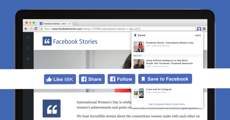 Facebook from other sites with new Save and Share Chrome extensions