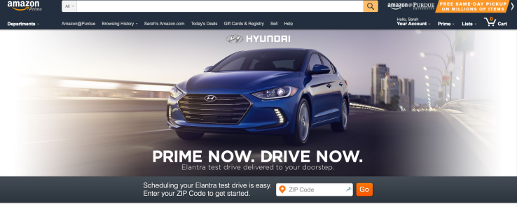 Amazon's Prime Now service starts delivering test drives from Hyundai