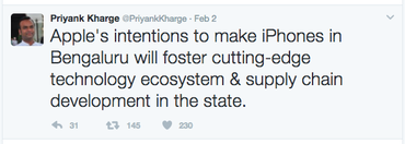 Indian minister says Apple will start making iPhones in Bangalore
