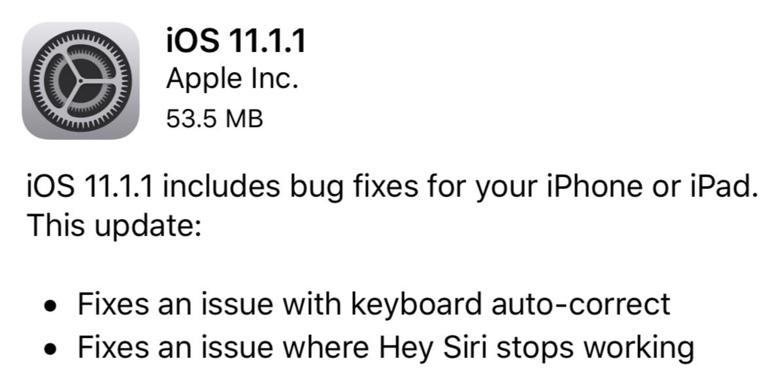 Apple releases iOS 11.1.1, fixes autocorrect bug on iPhones and iPads