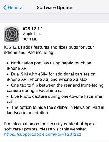 iOS 12.1.1 is now available, fixes an annoying FaceTime feature