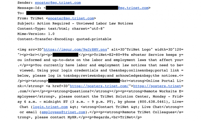 TriNet sent remote workers an email that some thought was a phishing attack