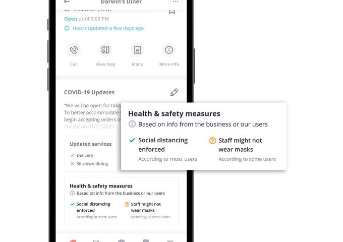 Yelp will show user feedback about businesses' health and safety practices